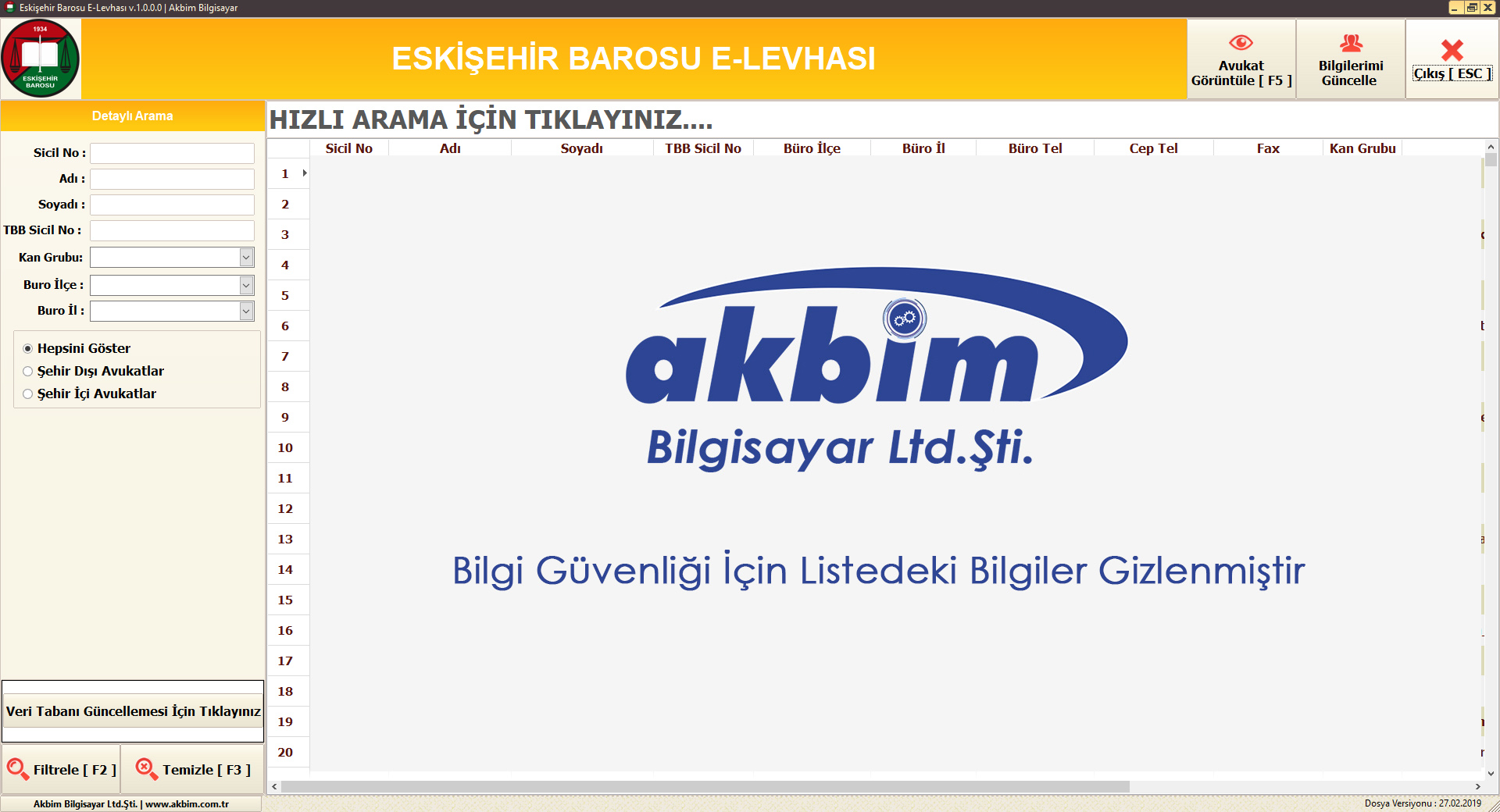 Eskişehir Barosu E-Levha - Akbim Bilgisayar